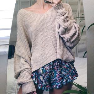 UO Baggy Oatmeal Chenille chunky sweater